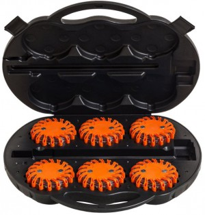 LED Warnleuchten 6er Set orange im Ladekoffer